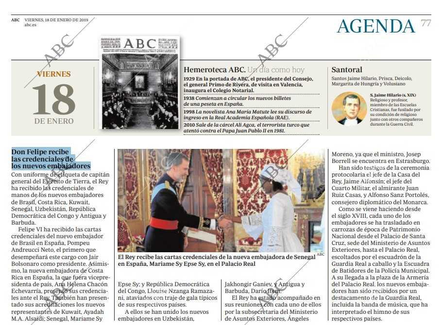 Don Felipe recibe las credenciales de los nuevos embajadores