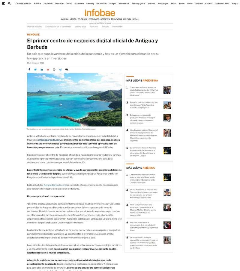 El primer centro de negocios digital oficial de Antigua y Barbuda