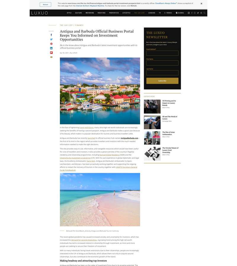 Antigua and Barbuda Official Business Portal Keeps You Informed on Investment Opportunities
